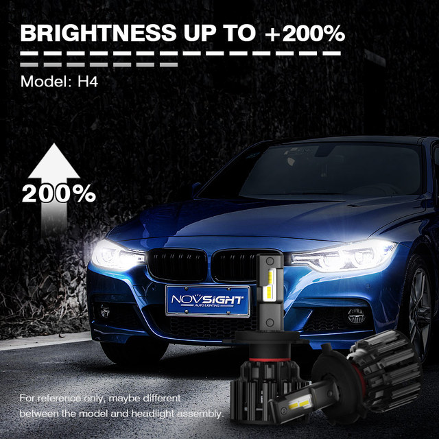 NOVSIGHT H4 LED H7 H11 H8 HB4 HB3 Car Headlight Bulbs 100W 20000LM Car Styling 6000K led automotivo