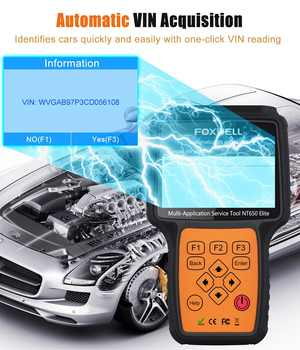 FOXWELL NT650 Elite OBD2 Car Diagnostic Tool ABS SRS Airbag SAS EPB Oil Service DPF TPMS Reset Special function OBDII Scanner