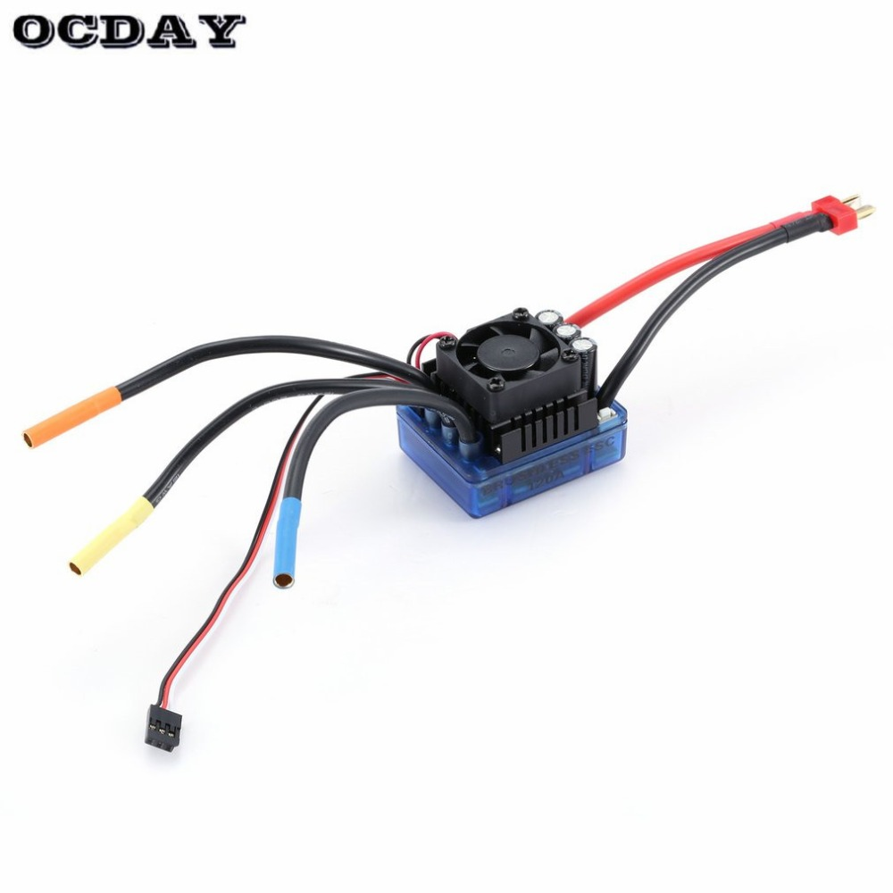 <font><b>3670</b></font> 2650KV/<font><b>1900KV</b></font> 4 poles Sensorless Brushless Motor with 120A Electronic Speed Controller Combo Set for 1/8 RC Car Truck ht image