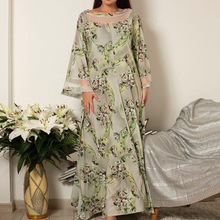 Muslim Plus Size Dress Spring Autumn Fashion Loose Simple Thin Best Sellers Printing Floral Net Yarn Round Neck Long Sleeve