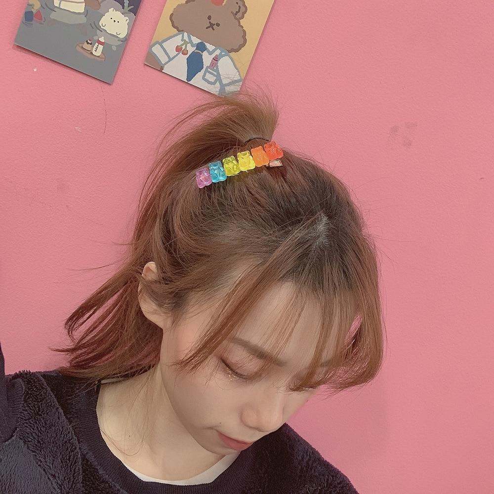 Korean Style Candy Color Bear Acrylic Hair Clips Cute Cartoon Animal Hairpin