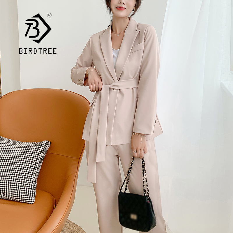 New Arrival Women Notched Long Sleeve Blazer With Belt Straight Long Pants 2 Piece Set Female Caramel Casual Pants Suit S98302F