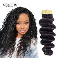 VSHOW Brazilian Hollywood Wave Bundles With Closure Natural Color 3 Bundles With Closure 100% Remy Human Hair Extensions