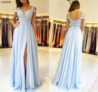 2020 Light Blue Appliqued Side Split Bridesmaid Dress Elehant Chiffon A Line Wedding Guest Gown Plus Size Custom Made