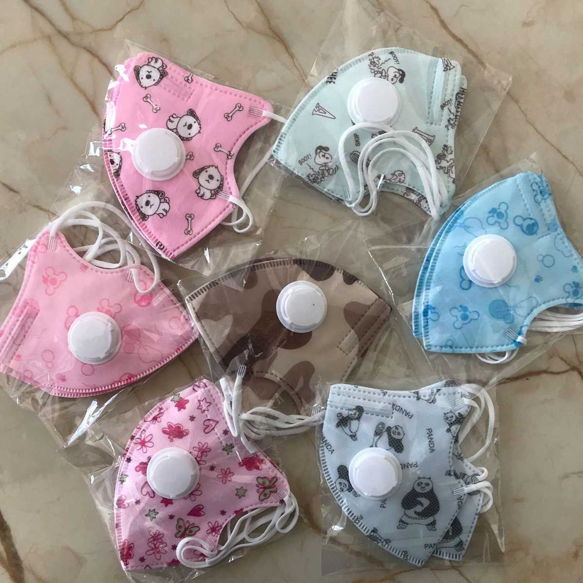 10pcs 0-10 Years Disposable Kids Children Face Mask Cotton Cartoon Active Carbon Facial Masks 5 Layers Anti Protective Dust