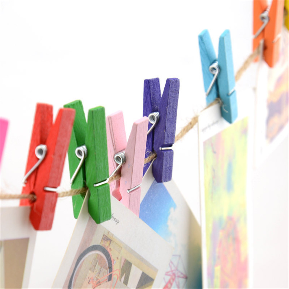 20Pcs/bag Colored Mini Wooden Office Supplies Craft Memo Clips With Rope DIY Clothes Paper Photo Peg Decoration 3x1.5cm
