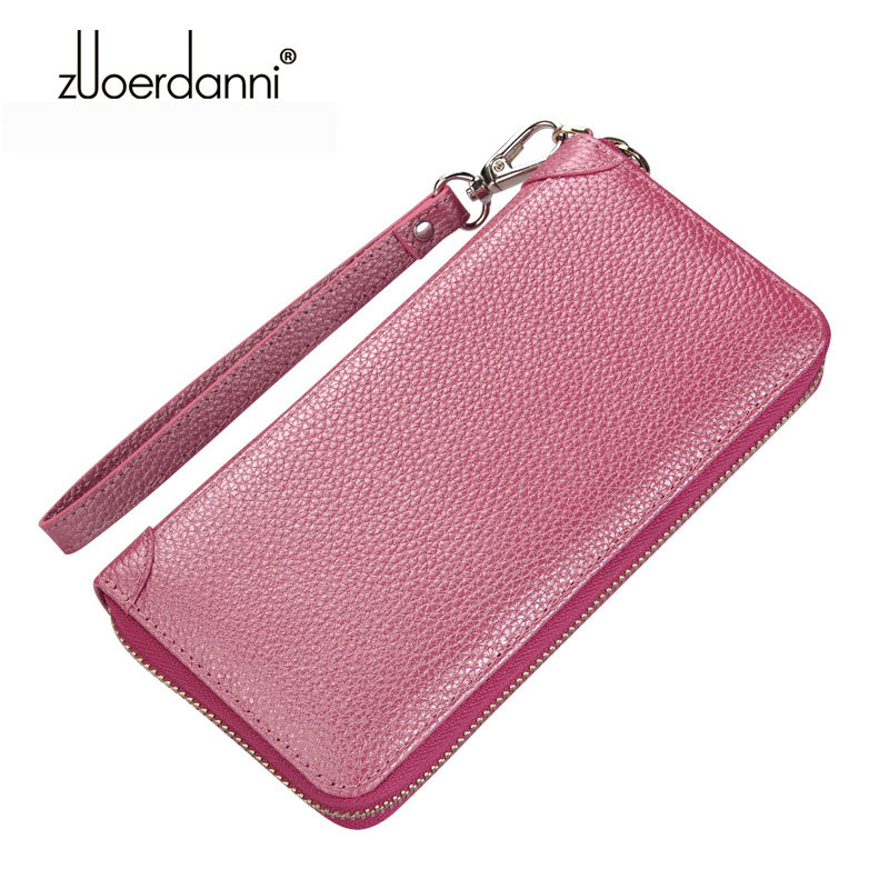 Genuine Leather Fealme Wallet Women Long Zipper Purse Large Capacity Soft Coin Pocket Ladies Credit Card Holder Pouch Money Bag