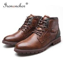 حجم 39 ~ 48 الخريف الرجال حذاء من الجلد 2019 الرجعية المطاط الذكور الأحذية # AF3998