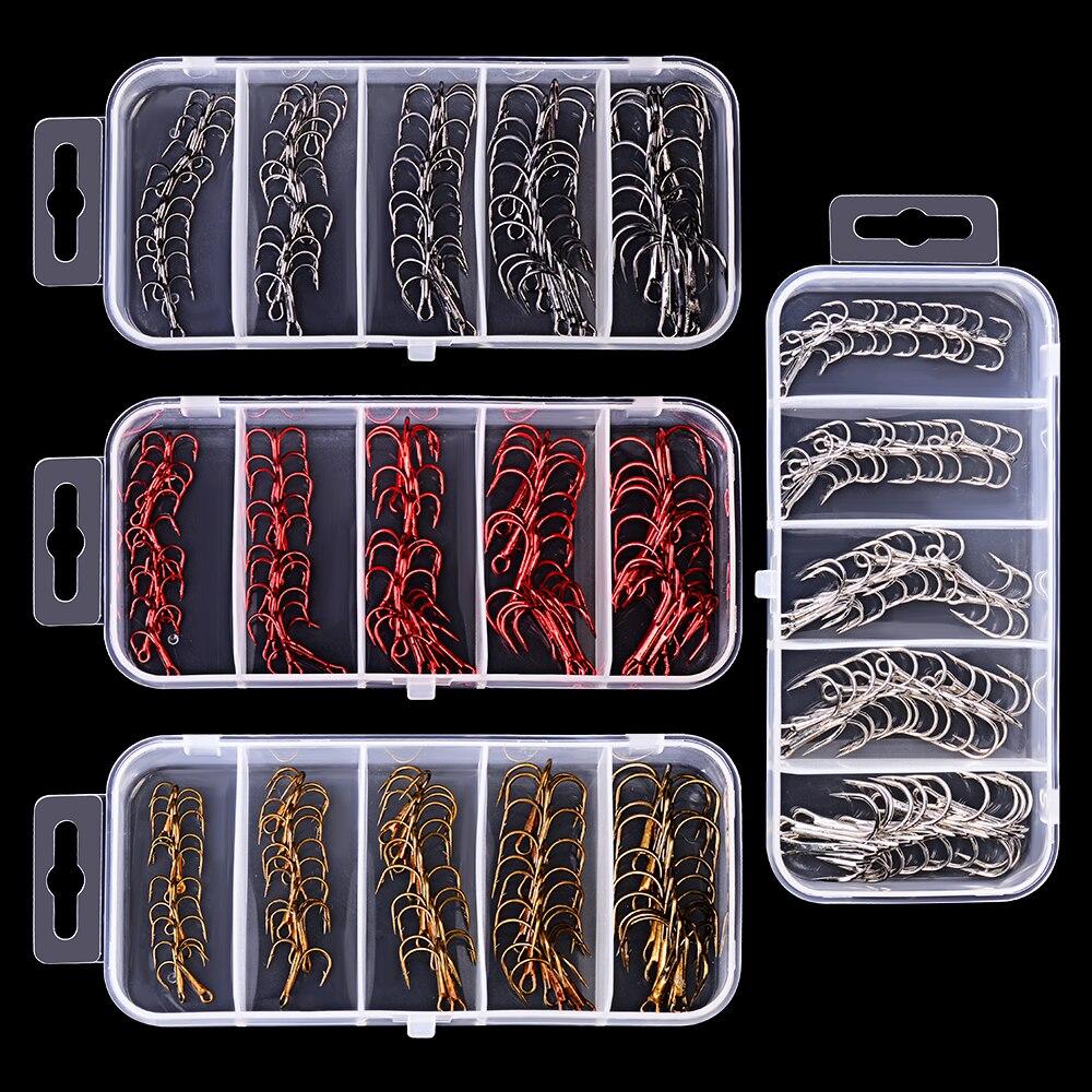 50Pcs/Box 2#/4#/6#/8#/10# Fishing Hooks High Qulity Black Color Jig Big Hook Treble Hooks