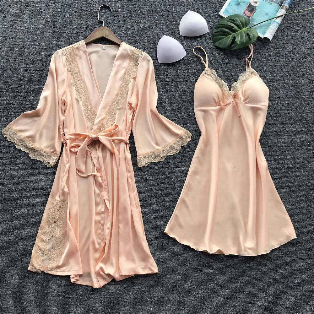Women Sleep Lounge Floral Lace Sexy Night Dress Bathrobe Set Satin V-Neck Sexy Sleepwear Lingerie Robe With Belt Femme Nightgown