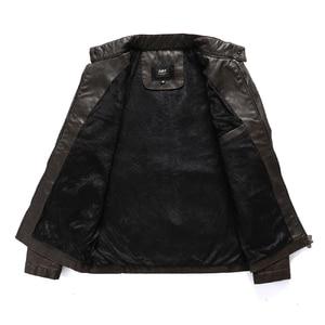 Image 3 - Мужская кожаная куртка в стиле милитари, модная винтажная куртка бомбер с воротником стойкой, весна 2019