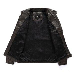 Image 3 - Jaqueta de couro bomber masculina, casaco de couro estilo vintage, com gola, estilo militar, para primavera