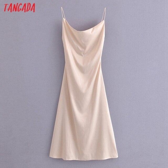 Tangada Women Beige Satin Dress Sleeveless Backless 2021 Fashion Lady Elegant Dresses QN172 1