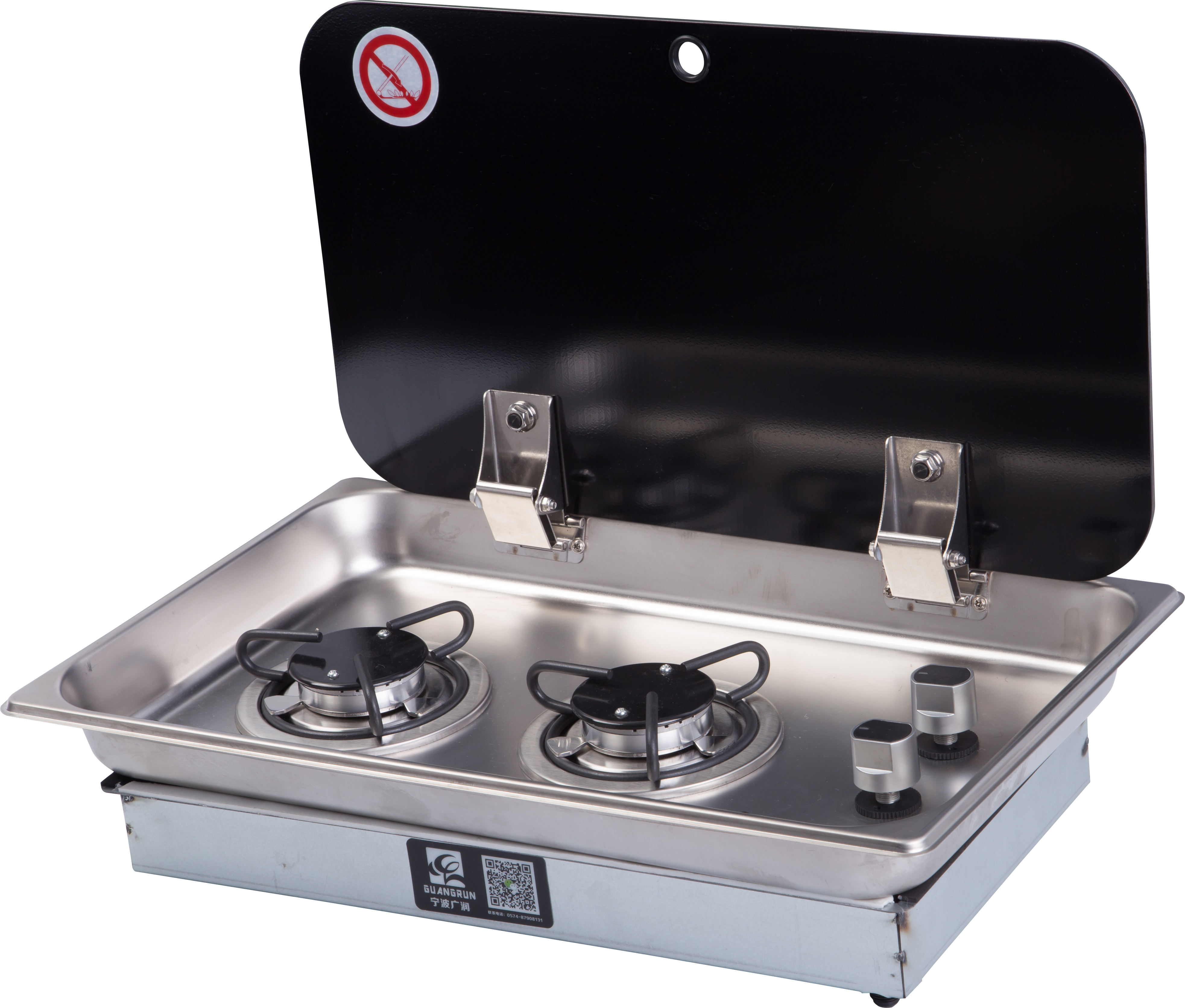 Double Steel Portable 2 Dual Burner Stove Range Propane Gas BBQ Tempered Glass Cooktop