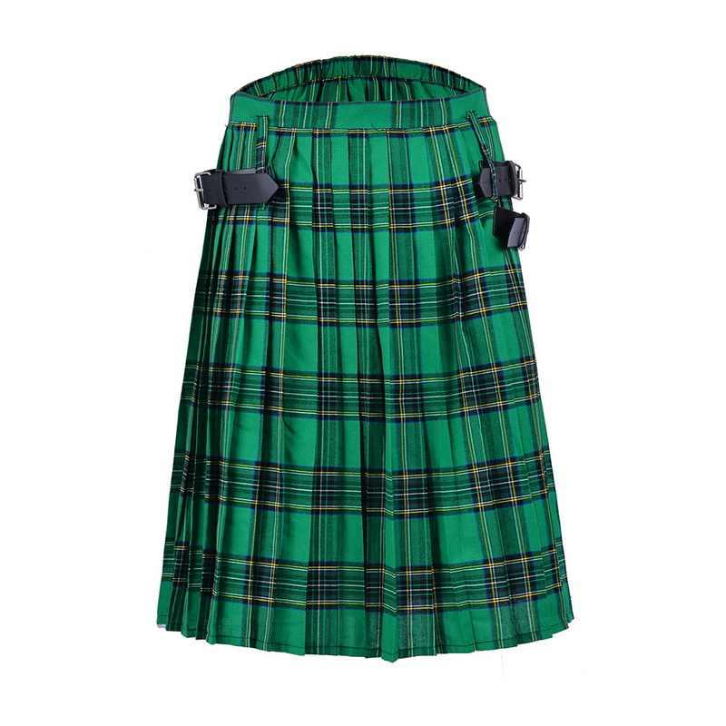 DIHOPE Schotse Heren Kilt Traditionele Plaid Riem Geplooid Bilaterale Chain Brown Gothic Punk Schotse Tartan Broek Rokken