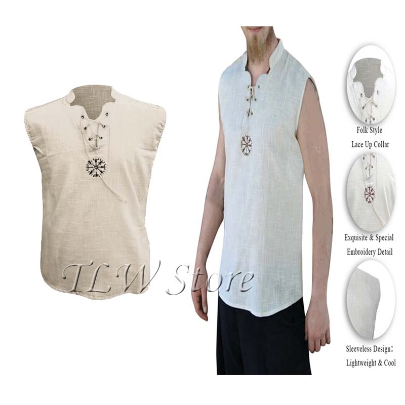 Mens Medieval Stage Viking Shirt Vintage Shiny Fancy Dress Norman Tunic Tee Tops