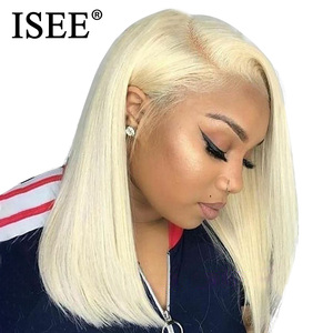 Image 3 - Straight Bob Lace Front Wigs Pre Plucked Hairline ISEE HAIR Short Human Hair Wigs Brazilian Straight Blonde 613 Lace Front Wigs