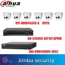 Dahua zestaw monitoringu NVR 1 sztuk NVR4108HS-4KS2 i 6 sztuk IPC-HDW4433c-a i dahua 8 portów poe DH-S1500C-8ET1ET-DPWR 1 sztuk