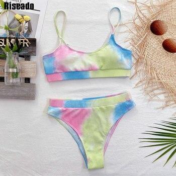 Riseado Push Up Sexy Bikini Women's Swimsuit High Waist Swimwear Women 2021 Tie Dye Bathing Suit Ribbed Brazilian Biquini Summer 2