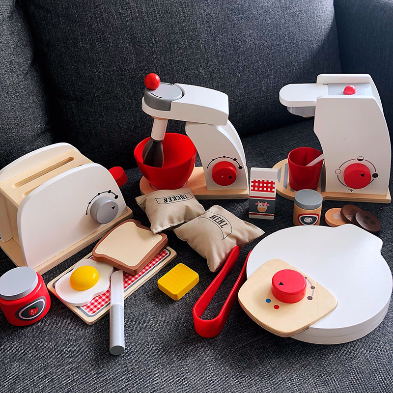 Kids Wooden Pretend Play Sets  Pretend Toasters Bread Maker Coffee Machine Blender Baking Kit Game Mixer Kitchen Educational Toy