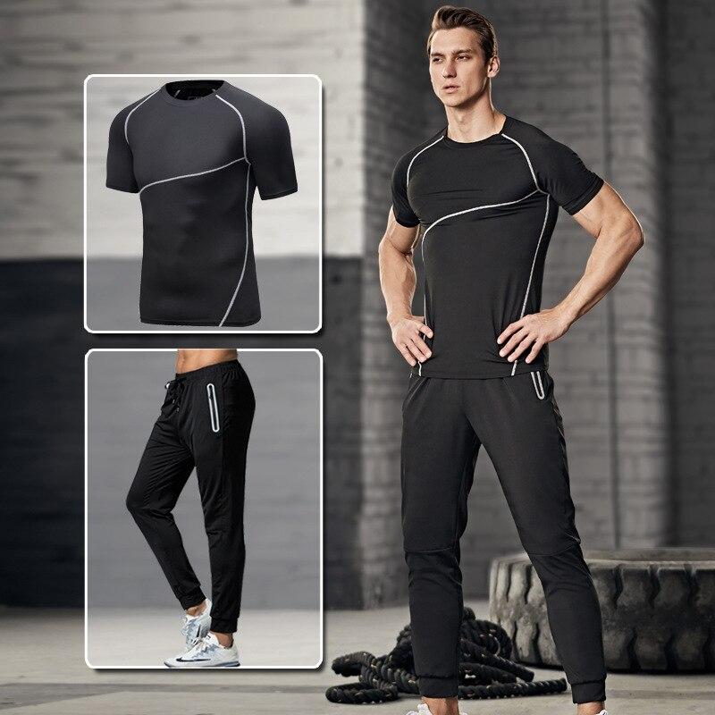 2018 Summer New Style MEN'S Suit Short Sleeve T-shirt Long Pants Simple Set Men's Casual Sports Clothing