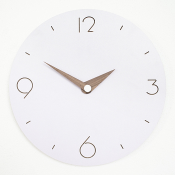 Large Nordic Simple Wall Clock Wood Round Mute Living Room Clock Mute Bedroom Creative White Clocks Wall Home Decoration C50WC