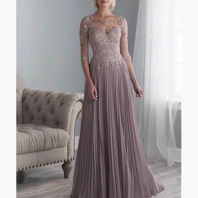 Vestido De Madrinha Beaded Lace Mother Of The Bride Dresses Plus Size 2019 Chiffon Half Sleeves Evening Dress For Wedding