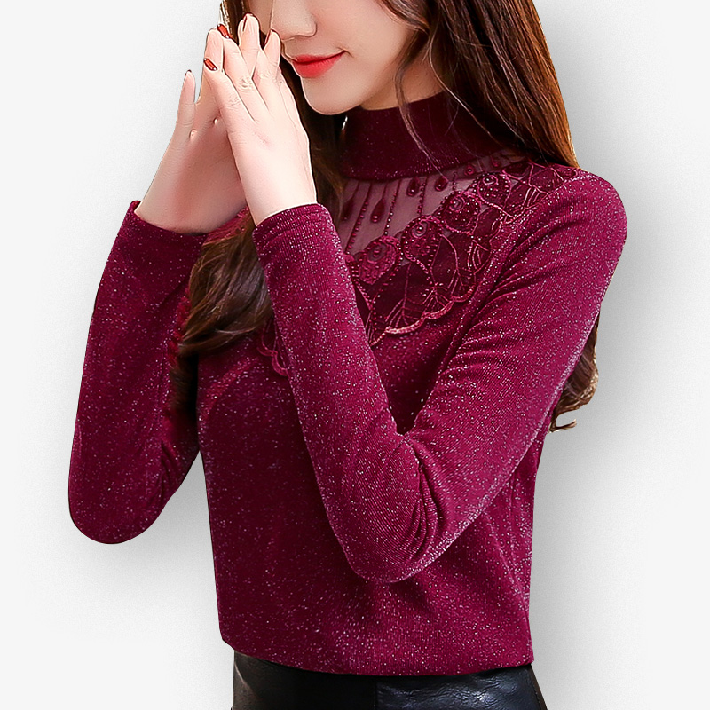 2019 New Autumn Winter Women Bottom Lace Mesh Diamonds Blouse Shirt Female Slender Warm Long Sleeves Tops Blouse Plus Size 5XL