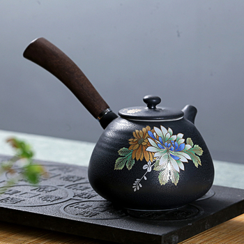 Wooden handle side Chinese Kung Fu tea pot large household teapot ceramic tea ceremony Japanese porcelain teaware