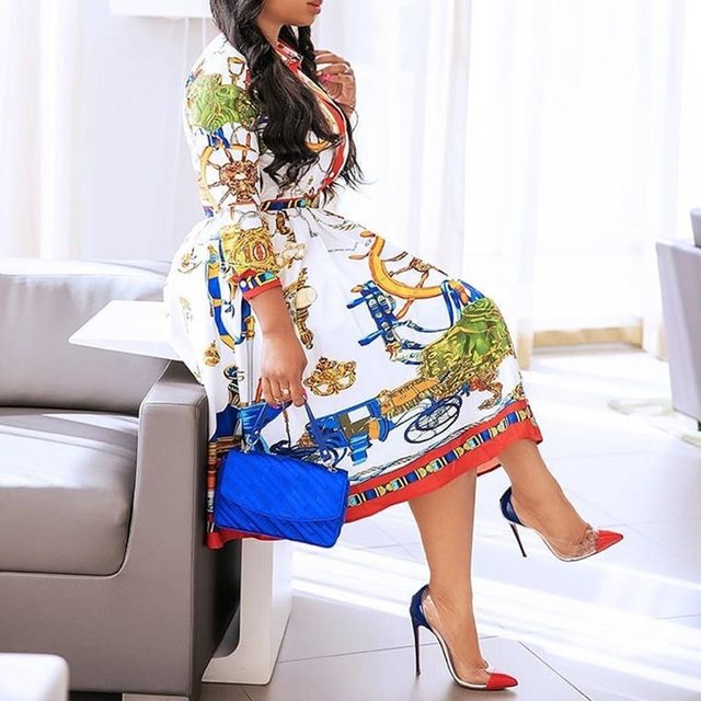 Summer Fall Lapel Mid-Calf High Waist Dress Big Plus Size Elegant Office Ladies Tunic 2