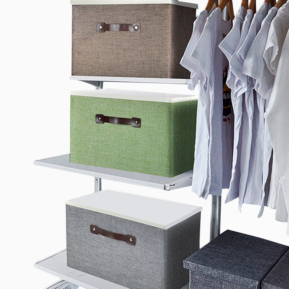 Large Foldable Storage Box Lids Stackable Polyester Fabric Container Organizer Clothing Storage Boxes