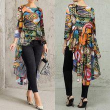 Plus rozmiar damska bluza z nadrukiem 2021 ZANZEA nieregularne koszule Kaftan Casual koszule z długim rękawem kobieta O Neck Blusas koszulka 5XL