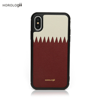 Horologii CUSTOM NAME FREE Qatar flag color luxury leather mobile phone case for iphone X max 7 plus 11 pro max case dropship