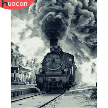 HUACAN DIY Painting By Number Train Hand Painted Paintings Art Drawing On Canvas Gift Pictures By Numbers Scenery Home Decor