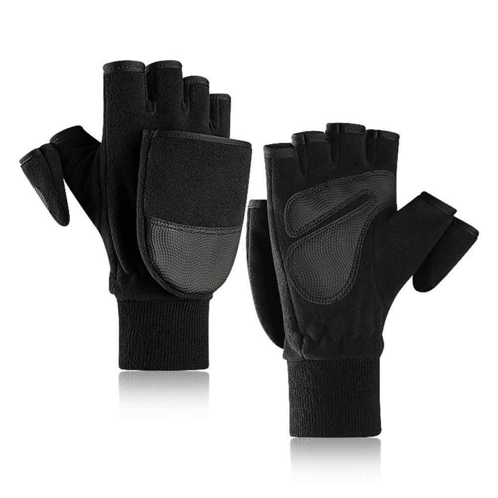 2019 yeni kış sıcak eldiven erkek kapak polar astarlı kalın açık parmaksız dokunmatik ekran sıcak eldiven