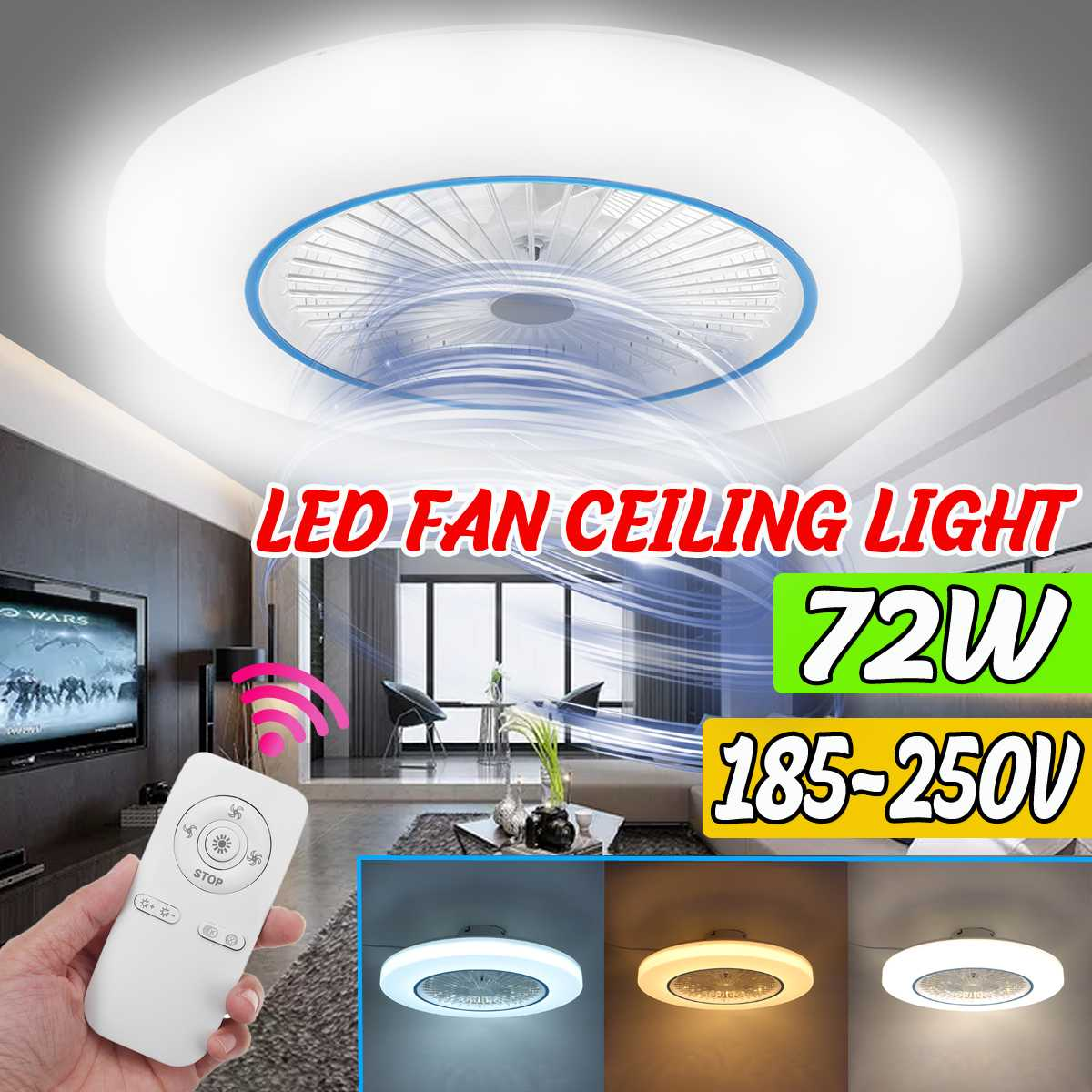 Learned 72w Led Ceiling Fan Light Ceiling Fan With Lights Remote Control Modern Lighting Three-color Dimming Ceiling Light 58*18cm Clear And Distinctive