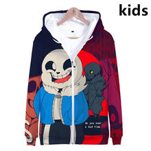 3 To 14 Years Kids Hoodies Undertale Sans 3D zip up Hoodie Sweatshirt Boy/Girls Cartoon Streetwear Jacket Coat Child hooded