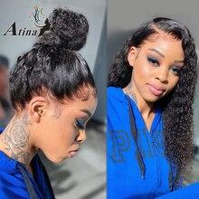 Peluca de encaje Frontal rizado 360 prearrancada con pelo de bebé, densidad HD 250, pelucas de cabello humano brasileñas con encaje Frontal virgen para mujeres negras