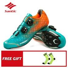 Santic คาร์บอนไฟเบอร์ผู้ชายขี่จักรยานรองเท้าจักรยาน Self locking การแข่งขันระดับมืออาชีพ Ultralight PRO RACING ทีมจักรยานรองเท้า