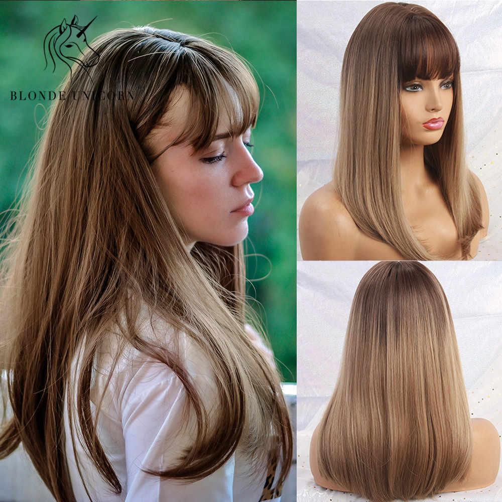 Блонд Единорог Синтетические длинные шелковистые прямые волосы темный корень Омбре светильник коричневый парики с аккуратной челкой для женщин 11 цветов