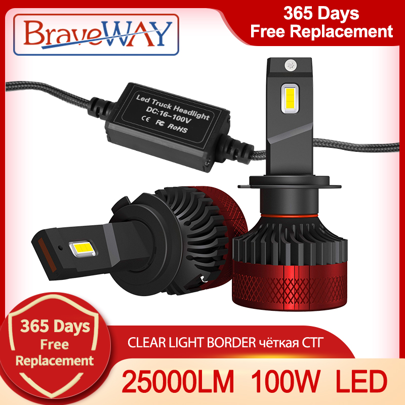 BraveWAY die Hellste Led-lampen H1 H3 H4 H11 H7 LED Scheinwerfer Lampen für Auto H7 LED Canbus H4 Lichter 12V/24V 100W 6000K 25000LM