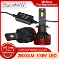 BraveWAY the Brightest LED Bulbs H1 H3 H4 H11 H7 LED Headlight Bulbs for Car H7 LED Canbus H4 Lights 12V/24V 100W 6000K 25000LM