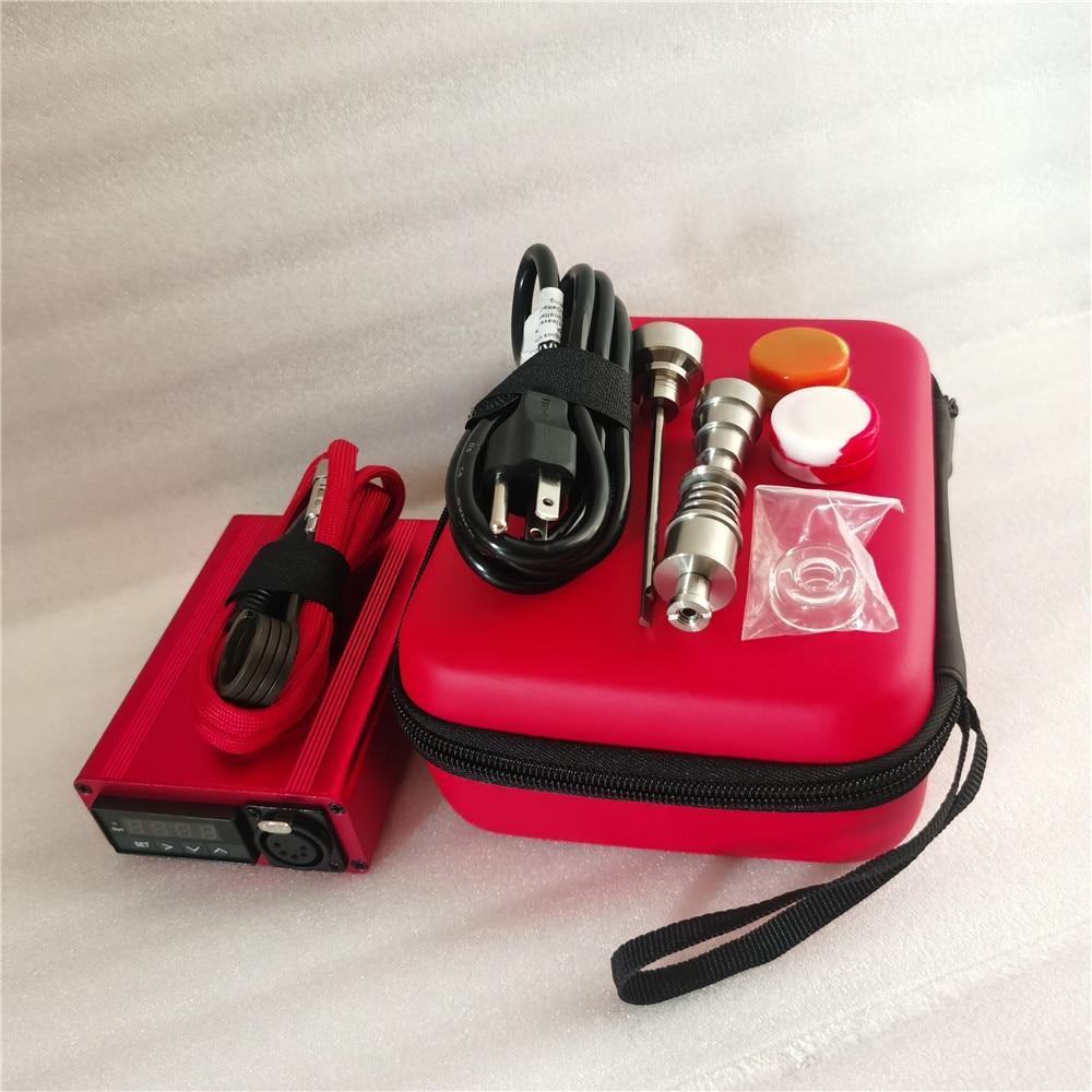 Best Christmas Gift Red Enail Dab Kit Electric Dab Nail Pen Rig Wax PID TC Box with 6 in 1 Hybrid Ti&Quartz Nail for Glass Bongs 4