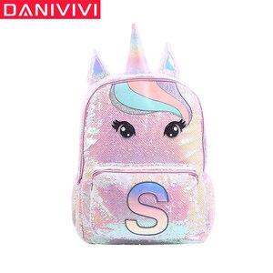 Image 1 - Cekiny jednorożec torby szkolne o dużej pojemności jednorożec plecaki dla dziewcząt różowy Mochila Escolar plecak dla dzieci torby szkolne dla dzieci
