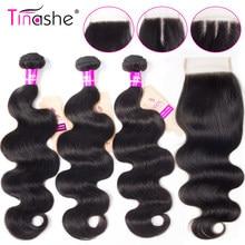 Mèches péruviennes naturelles-Tinashe Hair, avec Lace Closure, 8-30 pouces, en lot de 3