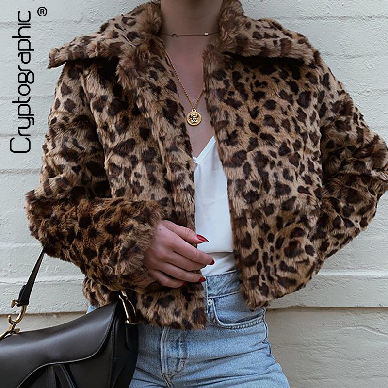 Cryptographic Women's Faux Fur Coats Leopard Print Turn-down Collar Three Quarter Sleeve Fluffy Outerwears Winter Cropped Coats