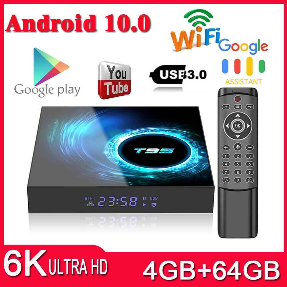 T95 Smart TV BOX Android 10.0 4GB 64GB Allwinner H616 Quad Core 1080P H.265 4K Media Player 6K Set Top Box PK S905X3 TV BOX