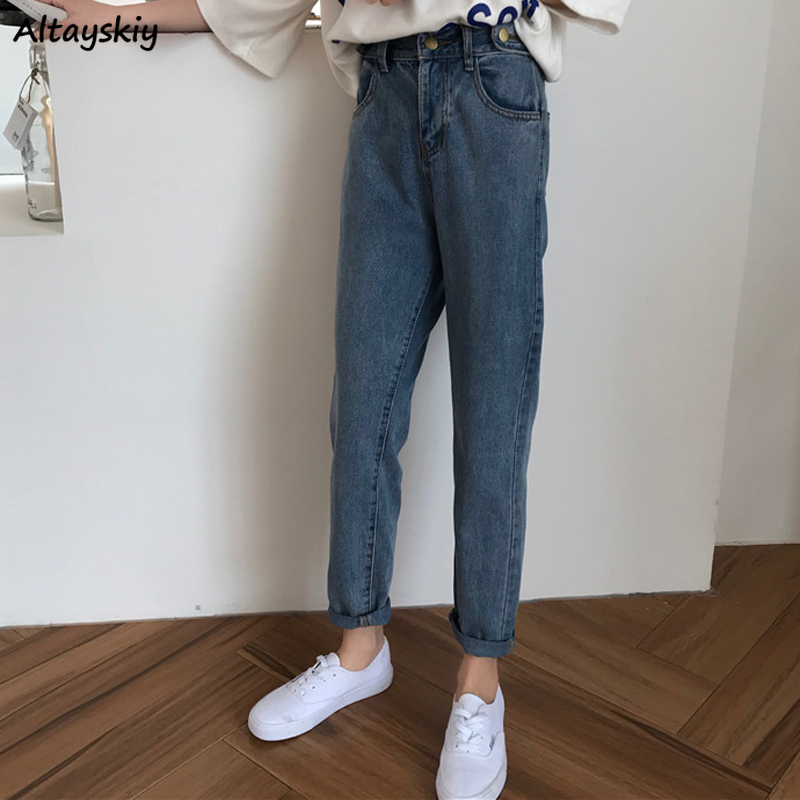 High Waist Jeans Women Top Shop Trousers Korean Street Style Fashionable Novelty Womens Denim Ankle-length Button Casual Soft