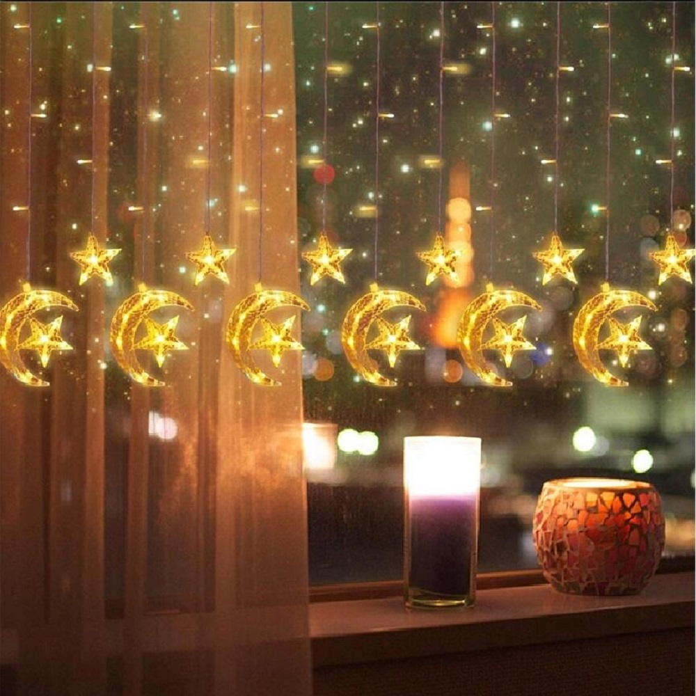 LED Night Lights Memory Function Curtain String Lighting EU Fairy Lights LED String Lights Star Moon Garland Christmas Light