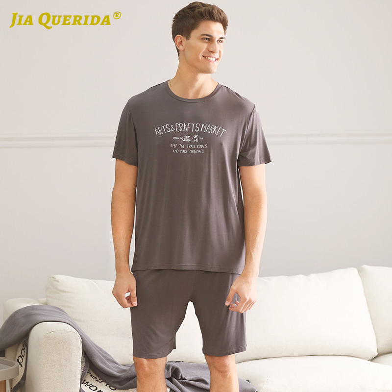 Pj Set New Crew Neck Man Clothes Pajamas Set Homesuit Homeclothes Fashion Style Casual Style Short Sleeve Short Pants Sleepwear